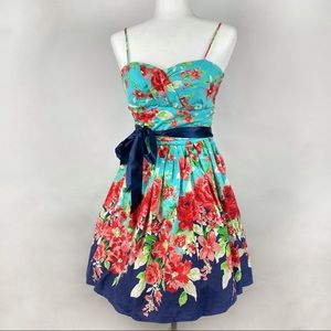 B. Smart Aqua Blue Belted Floral Dress Juniors 7/8